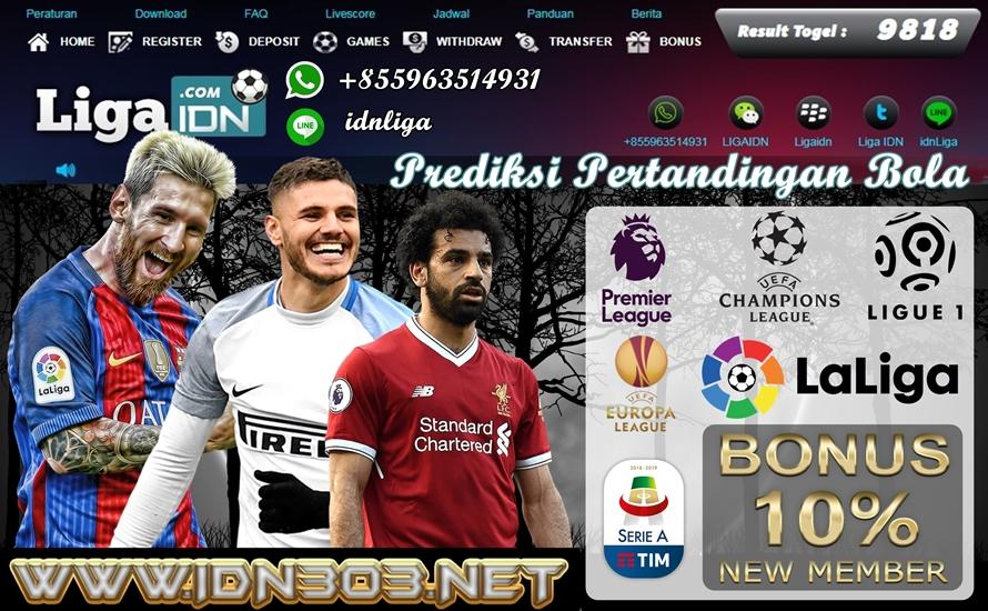 Prediksi Bola Bandar SBOBET hari ini di terbitkan langsung oleh Agen Terbaik dan Terpercaya se Indonesia LigaIDN